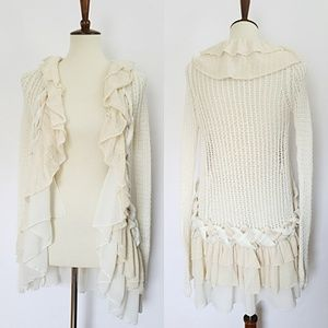 BKE Boutique Draped & Braided Cream Knit Cardigan
